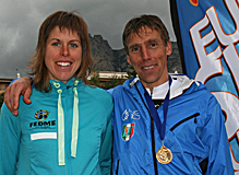 Race winners Laura Orgue (Spain) and Urban Zemmer (Italy)